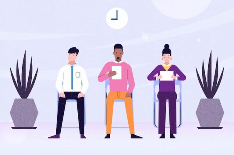 Pessoas ilustradas a espera de uma entrevista de emprego